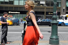 42nd Street (omoo) Tags: newyorkcity girl wind manhattan windy streetscene midtown blonde bryantpark 42ndstreet redskirt womwn dscn3547 42ndbetween5than6th blondewearingredskirtonawindyafternoon windy42ndstreet