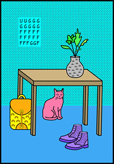 STILL-LIFE (Caroline David) Tags: plants color art illustration cat bag table typography design graphicdesign pattern boots carolinedavid