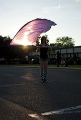 flag 4 (Hey_Lee! Photography) Tags: school sunset sun color girl lens high purple flag spin guard spinning flare colorguard