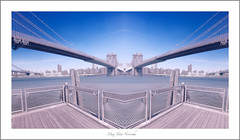 Double vision ... (max tuta noronha) Tags: nyc max water clouds fence landscape agua dumbo ponte locks cadeados
