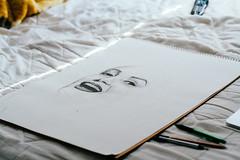 Marilyn Monroe Drawing 3 (Johhnnyyv) Tags: portrait selfportrait motion art pencil canon 50mm sketch mine drawing laptop marilynmonroe traditionalart progress sketchbook bts
