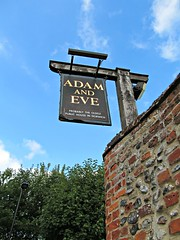 """""""Adam and Eve"""" pub sign (pefkosmad) Tags: old vacation holiday beer pub norfolk drinking roadtrip medieval alcohol norwich quaint oldbuilding eastanglia adamandeve pubsign publichouse oldestpubinnorwich"""