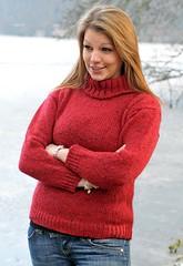 Donegal Wool Polo Neck Sweater - Red turtleneck (Mytwist) Tags: ladies cropped fashion 100 donegal wool polo neck sweater cpr2 red woman sweatergirl turtleneck rollneck knitwear rollkragen rollerneck style teen girlfriend gift jeans