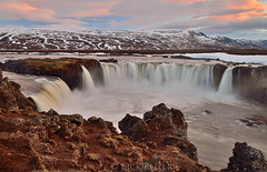 (Analog_Photographer) Tags: sunset waterfall iceland midnightsun goðafoss norðurland ostrellina