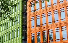 Colourful office blocks in London (Tony Worrall Foto) Tags: city windows england urban orange green london geometric lines architecture modern buildings place flat squares south capital places visit images area workplace blocks boxes colourful built offices frontage imagesoflondon 2013tonyworrall