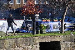 Walking both dogs ! (Halliwell_Michael ## Thanks you for your visits #) Tags: autumn trees dogs canals westyorkshire barges brighouse autumncolour 2013 nikond40x brighousecanalbasin