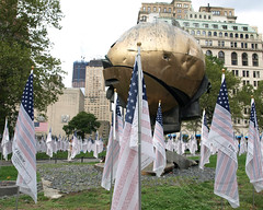 NYC 9/11 Remembrance Field of Honor Exhibit, Battery Park, New York City (jag9889) Tags: life city nyc sculpture ny newyork tower one site construction memorial artist remember display manhattan flag worldtradecenter 911 progress flags batterypark sphere american wtc heroes 3000 groundzero fritzkoenig 9112001 10thanniversary 91101 2011 freedomtower 10048 flagofhonor zip10048 flagsofheroes 1wtc y2011 wtcprogesscom jag9889