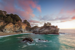 McWay at Days End (Jared Ropelato) Tags: ocean california longexposure trip travel wild vacation sky lake tree beach nature beautiful leaves clouds creek canon mom landscape lights waterfall leaf site spring rocks waves pacific crash outdoor tripod scenic illumination wave laketahoe visit scene hike cliffs adventure boulders trail highway1 pacificocean filter wilderness shrubs rugged illuminate manfrotto 2010 lansdscape crick giotto cablerelease 1635mm waterrocks singhray pfifferburns greenlush 5dmkii jaredropelato ropelatophotography
