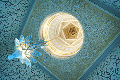 Crystal chandeliers and Ceiling (~~Olivia ZZ~~) Tags: travel blue white architecture al dubai ship muslim mosque zayed abudhabi   cruises grand nahyan   2013 emriates   mosque  sheikh binsultan