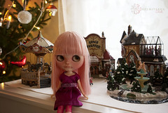 Bubbly pretending to be a giant in the Christmas village :)))