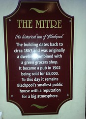"Plaque at The Mitre Inn, Blackpool • <a style=""font-size:0.8em;"" href=""http://www.flickr.com/photos/9840291@N03/12260183675/"" target=""_blank"">View on Flickr</a>"