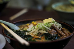 Miso Ramen (George Alexander Ishida Newman) Tags: food japan photography miso spring blurry bokeh bean bamboo pork ramen butter porn onion shoots sprouts fukushima