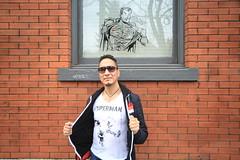 superman is ripped (Eyesplash - Summer was a blast, for 6 million view) Tags: brick window wall friend artist comic native drawing superman superhero aboriginal