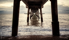 Under the boardwalk...down by the sea [Explored] (JennTurner) Tags: beach sunrise canon dawn pier town kent seaside waves jetty tide coastal single deal 6d 24105mm vision:outdoor=0936