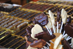 Sienese Chocolate Market (caseychonphotography) Tags: italy food white black fruit dark dessert chocolate foodporn covered hippo siena lollipop macarons