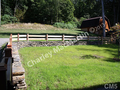 WM Charley MacMartin 5, Milton stone-woodrail fence, dry laid stone construction, copyright 2014
