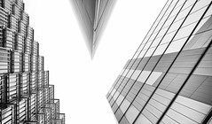 A Terrible Privilege - London City Architecture by Simon & His Camera (Simon & His Camera) Tags: architecture city blackandwhite monochrome lines lookingup london building bw white composition geometric outdoor office pattern simonandhiscamera sky skyline tower urban vertical squares