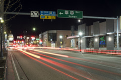 South Capitol Boulevard (Curtis Gregory Perry) Tags: boise idaho sign street capitol boulevard night longexposure car traffic trail motion blur movement highway 26 20 nampa arrow turn convention center hotel parking left signal west only road nikon d810 overhead gantry green big bgs