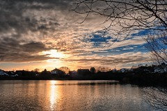Late afternoon, Norway (Vest der ute) Tags: xt2 norway rogaland haugesund water waterscape landscape lake sunset sky clouds houses trees reflections fav25 fav200