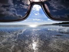 Shades (Tobymeg) Tags: beach sun march sky solway coast couds sand reflection scotland panasonic dmcfz72
