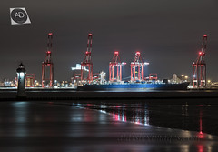Paris, in an English channel. (alun.disley@ntlworld.com) Tags: mearsklineshipping hsparis rivermersey liverpool merseyside shipping liverpool2containerterminal cranes reflections night longexposure newbrightonlighthouse wirral wallasey beach seadefences industriallandscape portsandrivers shoreline
