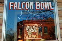 Falcon Bowl, Milwaukee (Cragin Spring) Tags: midwest milwaukee milwaukeewi milwaukeewisconsin wisconsin urban city riverwest building falconbowl bowling bowlingalley bar tavern window polish polishfalcons wi reflection