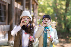 sisters blowing bubbles together in green forest (Apricot Cafe) Tags: img29242 3039years asia asianandindianethnicities canonef85mmf18usm japan japaneseethnicity kyotojapan blowing candid casualclothing charming cheerful day enjoyment forest freedom friendship happiness horizontal lifestyles morning nature onlywomen outdoors photography relaxation sister smiling soapsud springtime threequarterlength togetherness tourism tourist traveldestinations twopeople weekendactivities women yoshidayama youngadult kyōtoshi kyōtofu jp