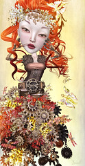 All Geared Up (Jewel Appletor aka Karalyn Hubbard) Tags: lode bliensenmaitai coco lwl flood 8f8 nomad gears gown flowers snapdragons industrial butterflies dragonflies whimsical fantasy headress red doll mechanical art artist artwork digitalart jewel