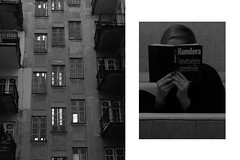 Kundera is best in the bathtub (rkadras) Tags: kundera reading book girl bathtub houses paralel bw flats windows stairs city