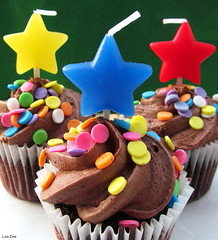 It's Party Time (Lisa Zins) Tags: lisazins macromondays macromonday happy10years celebrate cupcakes stars candles minicupcakes macro monday canon powershot sx150 party ten colorful food dessert chocolate march 2017 frosting cake