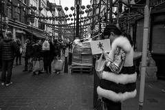 Not Just A Label (Silver Machine) Tags: london chinatown streetphotography street candid girl davidferreira designerlabel fashion londonfashionweekspring2017 notjustalabel coat furcoat stripes monochrome mono blackwhite bw fujifilm fujifilmxt10 fujinonxf18mmf2r