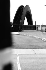 """curves + lines (listening to """"kiss with a fist"""", florence + the machine) (jeneksmith) Tags: street curves lines bw blackandwhite monochrome urban city bridge rustyrainbow crescentpark bywater bigeasy crescentcity nola neworleans canon"""