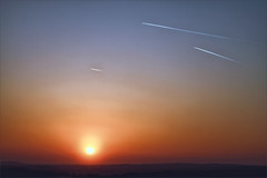 Last Flights of the Day (meniscuslens) Tags: aircraft vapour vapor trail contrail sunset aylesbury vale sky