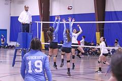 IMG_2588 (SJH Foto) Tags: girls volleyball teen teenager team quickset storm u14s net battle spike block action shot jump midair