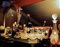 Spirits (mortiemctavern) Tags: polaroidweek2017 polaroid180 fp100c bleached negative flash drinking mirror bottle glasses blur spill day31