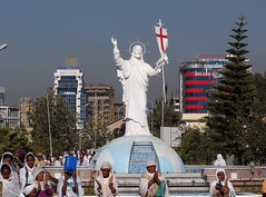 DSC03904c Statue in front of Bole Medhane Church, Addis Ababa, Ethiopia. 6th December 2013 (Paul Ealing 2011) Tags: ethiopia december 2013 link africa addis ababa statue church 6th bole medhane abeba