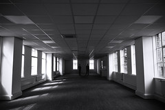 Vacant office [96/365 2017] (steven.kemp) Tags: vacant empty office space ceiling window blackandwhite monochrome vanishingpoint perspective