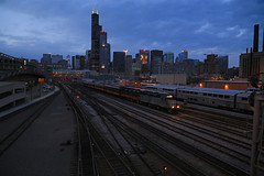 Blue hour Departure (GLC 392) Tags: hoosier state iowa pacific holding company down town downtown chicago il illinois blue hour passenger train emd gp40fh2 4144 4135 ic central union station sears tower willis clouds sky railroad railway slrg