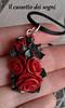 pendente rose rosse1 (Il cassetto dei sogni) Tags: pastadimais porcellanafredda artigianali pendente orecchini fiori ninfea rosa
