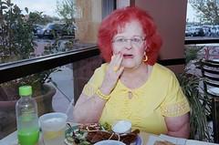Tucson, 2013 (Eric Seneca Kim) Tags: onlyinamerica red hair lady yellow green flash kodak portra 400 leica 35mm mp street photography eric kim