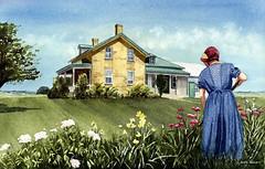 Tending the Garden (Earl Reinink) Tags: art painting watercolor watercolorpainting amish mennonite farm garden home earl reinink earlreinink