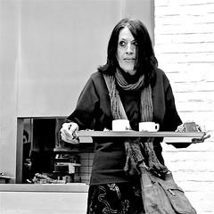 Two Coffee with apple pie.. (Akbar Simonse) Tags: people candid woman coffee holland netherlands nederland streetphotography straatfotografie streetshot straatfoto inside zwartwit bw blancoynegro bn monochrome square vierkant akbarsimonse