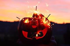 Samhain (Ralaphotography) Tags: happy halloween samhain all hallows eve orange pumpkin sparklers nature sunset sky forest autumn fall