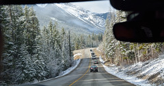 Morning drive to the mountain (drafiei1) Tags: mountain mountains banff banffnationalpark drive road pine snow snowcovered ice view scenery scene landscape