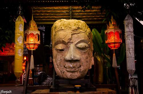 Stone Buddha face, Wat Jedlin, Chiang Mai, Thailand