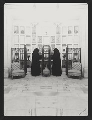Faceless Gate Keepers (PhotoJester40) Tags: faceless mirrored bnw blackandwhite doubled cloaked indoors inside graves mausoleum amdphotographer