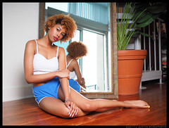 Chyna - Give Me Love (jfinite) Tags: model beauty lifestyle portraiture shorts legs barefoot curls halter mirror