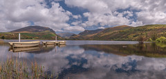 Lakeside (Einir Wyn Leigh) Tags: lake landscape water view scenery mountains boats fishing happy solitude reflection clouds sky snowdon foliage lens camera wideangle panorama outdoors sunshine sunlight april spring