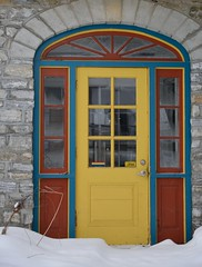 Loved the colours on this door ~ HWW (shireye) Tags: hww happywindowwednesday window lanarkcounty ontario on rural nikon d610 24120 ff fullframe fx colourfuldoorway snow