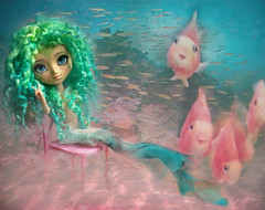 Swim aside, fishy fish! (The Migratory Dreamery) Tags: pullip custompullip customdoll lydioteision mermaid underwater sea ocean fish blue green pink pureneemo pullippeterpan dolls toys dollphotography toyphotography groove junplanning mohairwig handmade